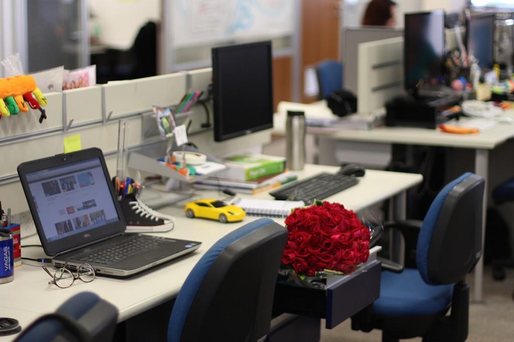 """Antônia: """"Ganhou um buquê de flores? Dos colegas, do namorado, não importa. Abra a gaveta, acomode-o e dê um charme na sua mesa""""."""